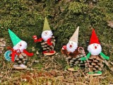 vintage Christmas pin cone elves