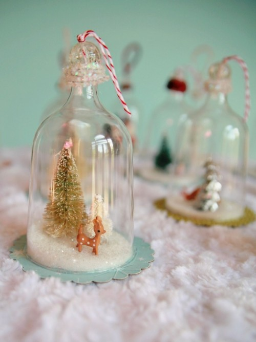 vintage bell jar ornaments (via )