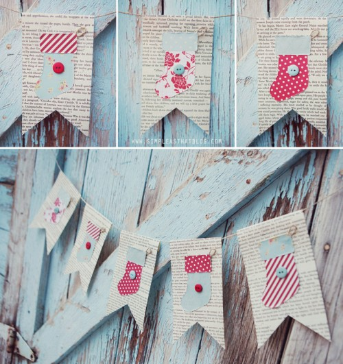 diy vintage stockings garland (via simpleasthatblog)