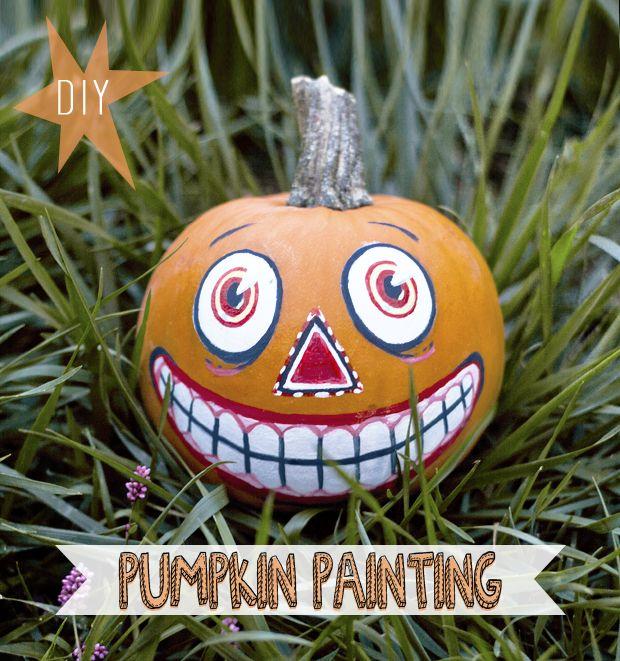 vintage inspired painted pumpkin