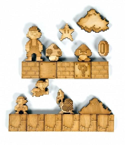 Wooden Mario Inspired Fridge Magnets