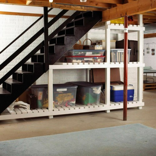 5 basement under stairs storage ideas shelterness for Basement storage ideas