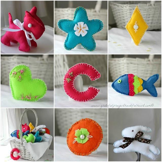 Basket Of Handmade Soft Felt Toys