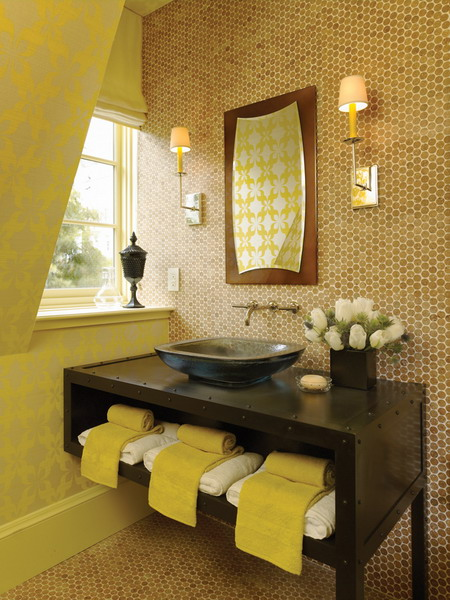 50 bathroom vanity decor ideas shelterness for Yellow and brown bathroom decor