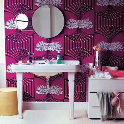21 unusual bathroom designs with wallpapers on walls for Bathroom wallpaper patterns