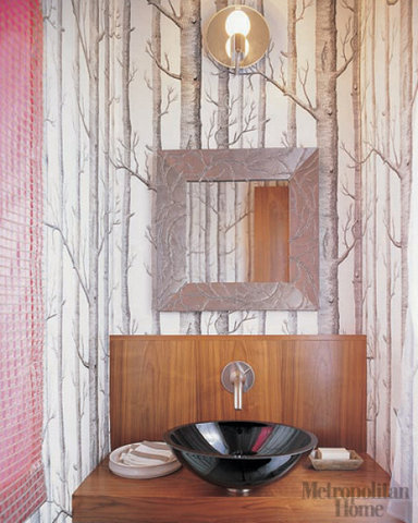 21 unusual bathroom designs with wallpapers on walls for Unusual wallpaper for walls