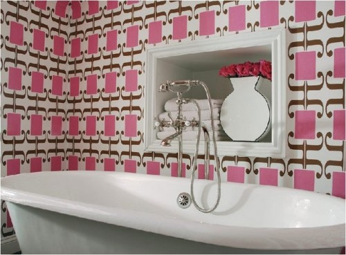 Bathroom With Wallpaper