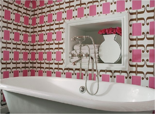 Bathroom With Wallpaper Shelterness