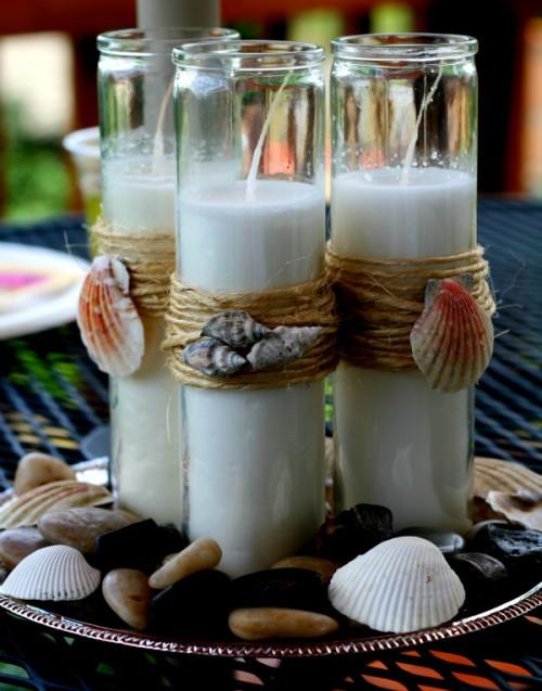 beach-themed pillar candles (via momitforward)