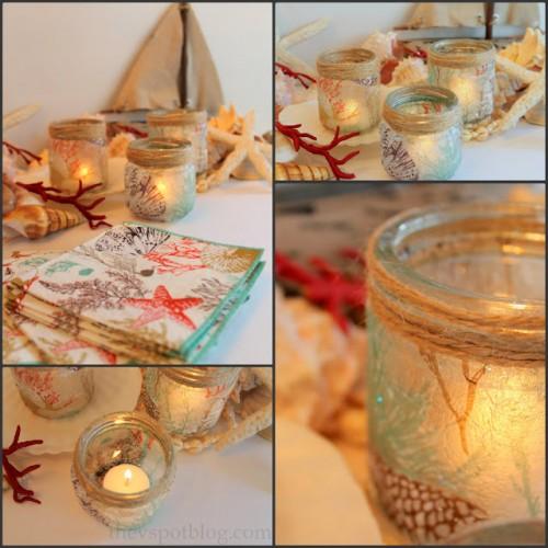 glass jar decoupage candleholders (via thevspotblog)