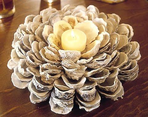 oyster shell candleholder (via completely-coastal)