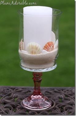 beach wine glass candleholder