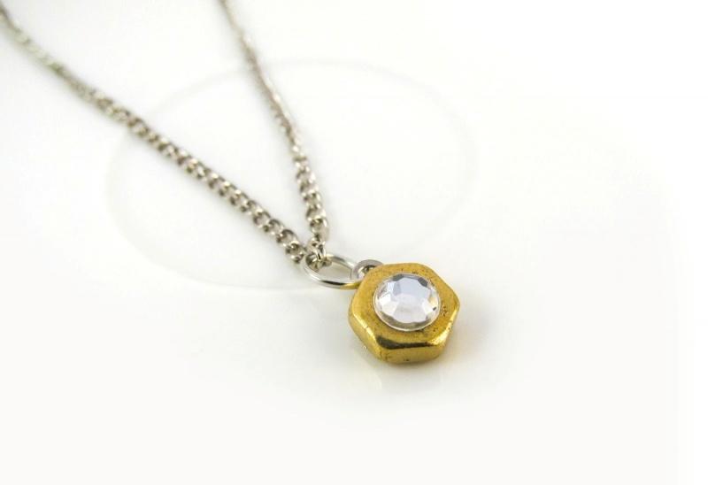 Beautiful DIY Gold Hexnut Necklace