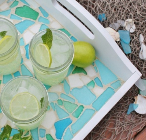 Beautiful DIY Sea Glass Tray