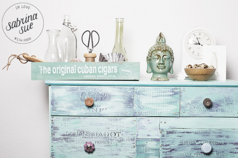 turquoise shabby chic sideboard
