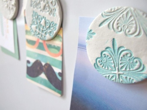 Beautiful diy stamped clay magnets 5 500x375