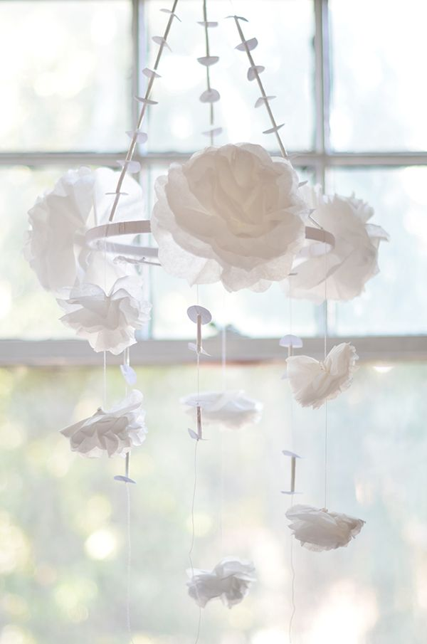 Beautiful DIY White Flowers Chandelier