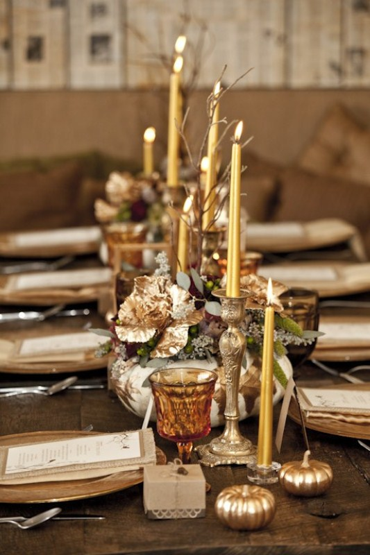 Picture of beautiful fall table decor ideas Fall decorating ideas for dinner party