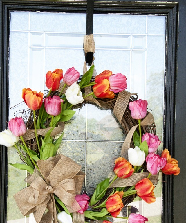 front door with a beautiful spring wreath you ll need grapevine wreath