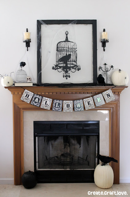 stylish black and white Halloween mantel (via createcraftlove)