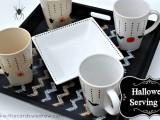 black and white serving set