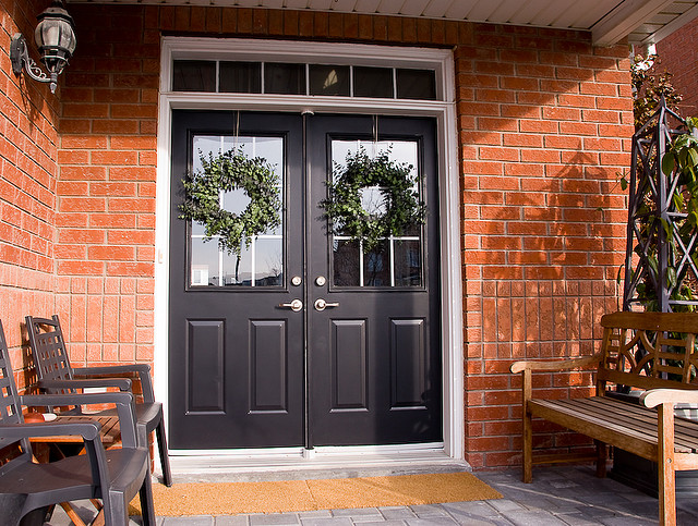 Black Double Doors Outside : Picture of black front door design