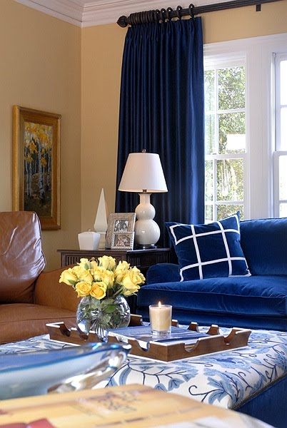 Picture of blue room design ideas for Blue curtain ideas for living room
