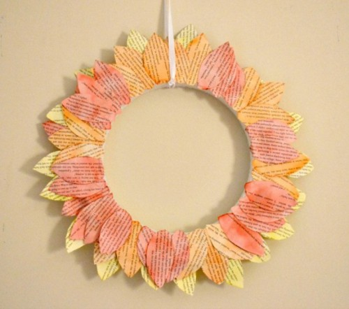book pages leaf wreath (via shelterness)