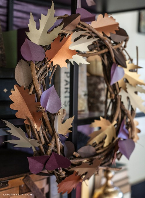 colorful paper leaf wreath (via https:)