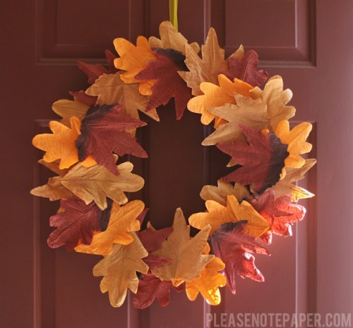 faux leaf fall wreath (via pleasenotepaper)