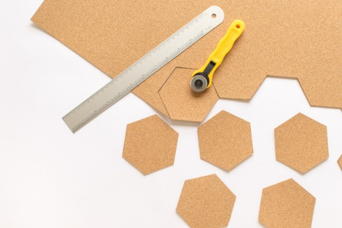 Bold DIY Hexagon Cork Coasters