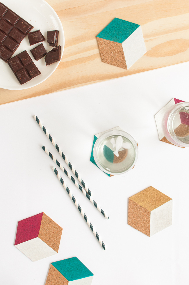 Picture Of bold diy hexagon cork coasters  5