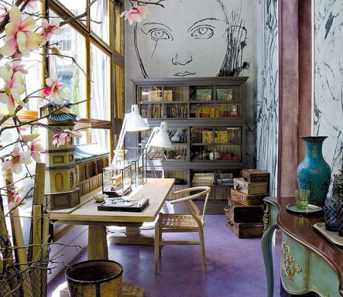 Eclectic home offices always catch attention.