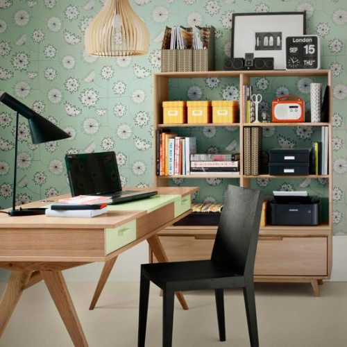 Transparent wood storage unit and a cool wallpaper behind is a nice decor idea. & 51 Cool Storage Idea For A Home Office - Shelterness
