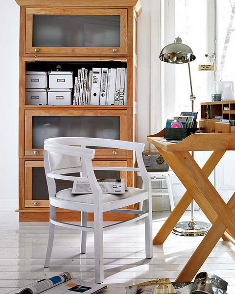 Vintage shelving unit combined with a vintage deck that has some storage compartments could hold lots of things.