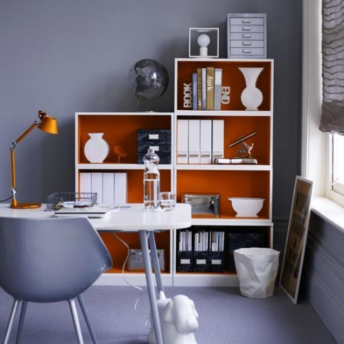 Colorful back cover could make a plain white bookcase like IKEA Billy a good looking solution.