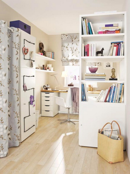 Bookcase could become a room divider if your home office is a part of your living room.