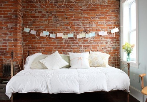 Wall Decoration Behind Bed : Idea to decorate a brick wall behind your bed shelterness
