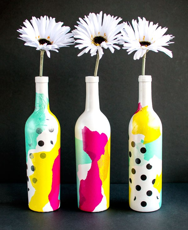 Picture Of bright and cheerful diy tissue paper vases  1