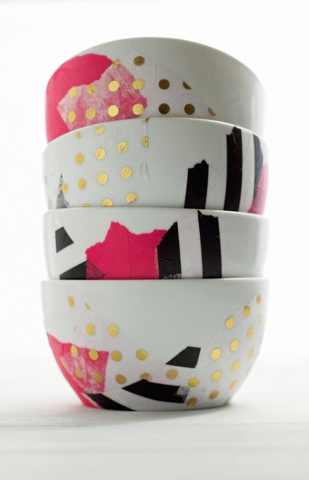 colorful mod podge bowls