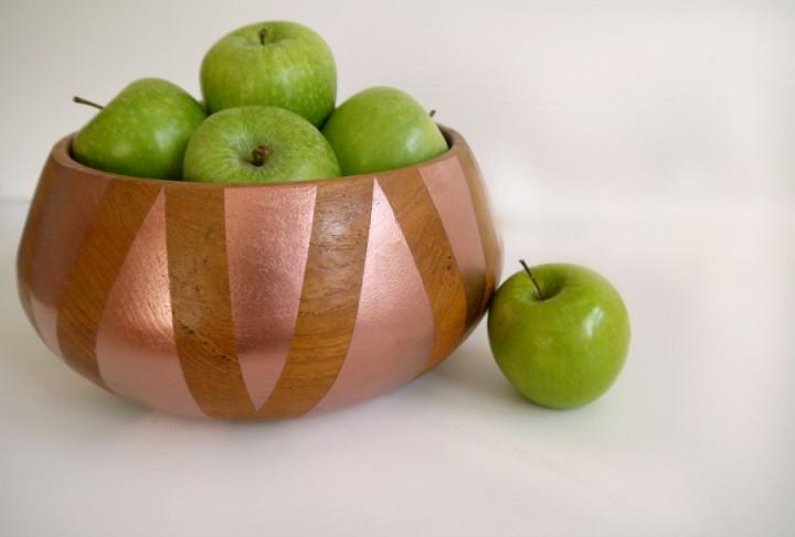 copper wood fruit bowl