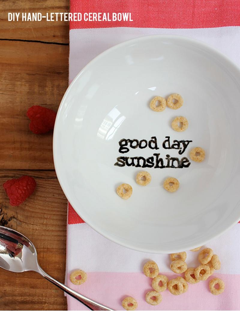 hand lettered cereal bowl