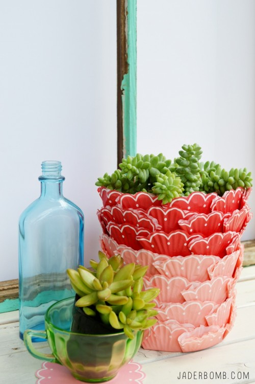 Bright Diy Cupcake Succulent Planter