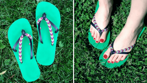 colorful straps flip flops