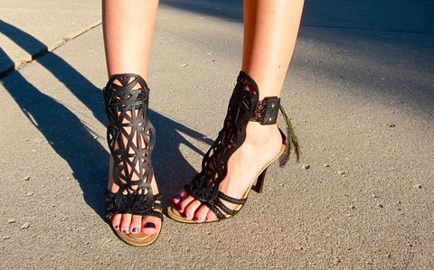 leather cut out sandals