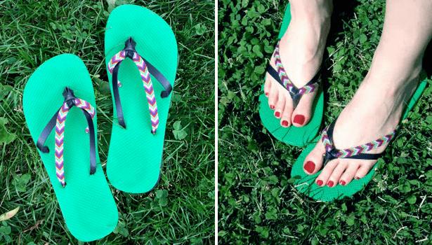 colorful straps flip flops