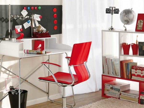 Bright Home Office With Red Accents
