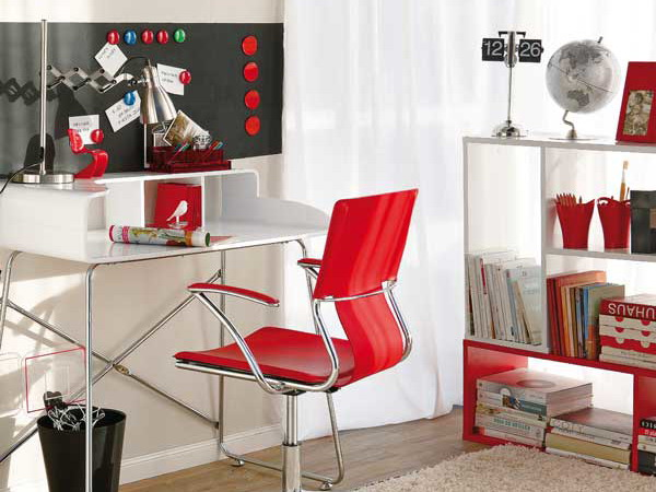 Bright Home Office Design With Red Accents