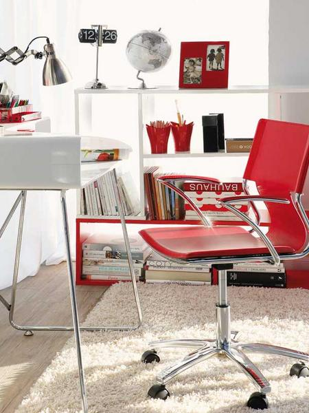 Picture Of Bright Home Office With Red Accents
