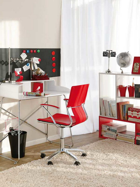 Bright Home Office With Red Accents Shelterness